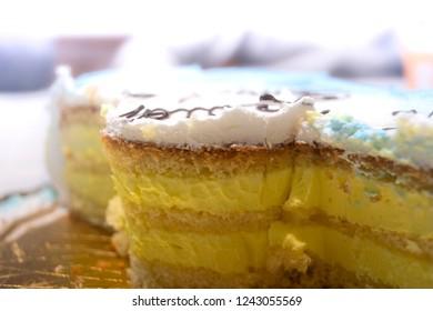 Detail of lemon cake. Calabrian recipe. Birthday party.