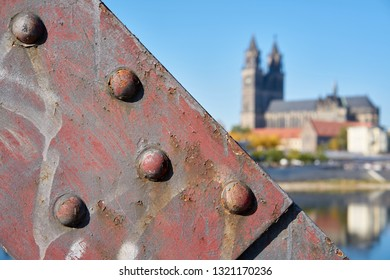 Detail of the lift bridge in Magdeburg. In the background the Magdeburg Cathedral, the landmark of the city.