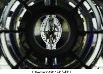 Detail of a lighthouse. Xenon lamp photographed through the Fresnel lens. A special compact lens generally used for lighthouses.