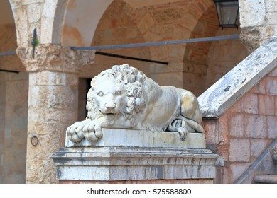Detail of a lion statue from the old town of Norcia, region of Umbria, Italy