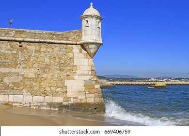 Detail of the little fortress of Lagos with a watch tower, Portugal