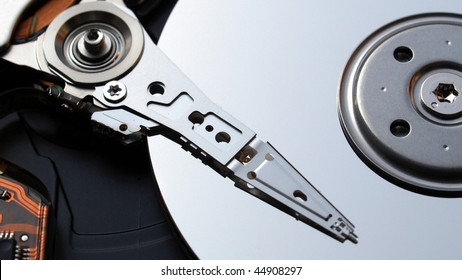 Detail of a magnetic computer hard disk - (16:9 ratio)