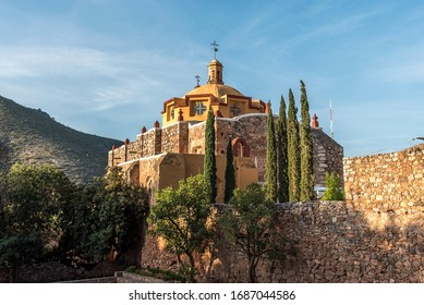 Detail of the main church in the village of San Pedro hill at sunrise in San Luis Potosi at the sunrise - Pueblo magico near of Real de Catorce