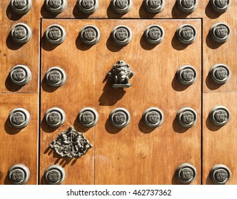 Detail of the main door of the Archbishop Palace in Seville, Spain