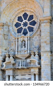 Detail of the main facade of the cathedral of Porto