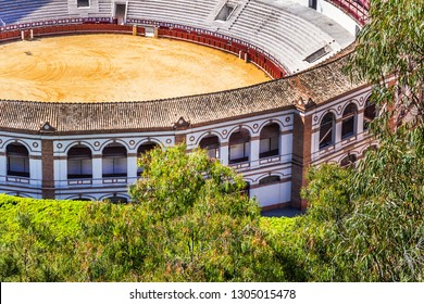 Detail of Malaga Bullring (Corrida arena, 1874) at Plaza de Toros. Malaga, Costa del Sol, Andalusia, Spain.