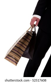 detail of a  man doing shopping,with bags