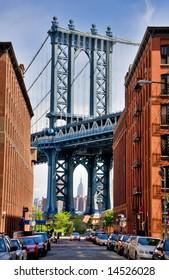 detail of Manhattan Bridge from a Brooklyn street in the neighborhood known as DUMBO