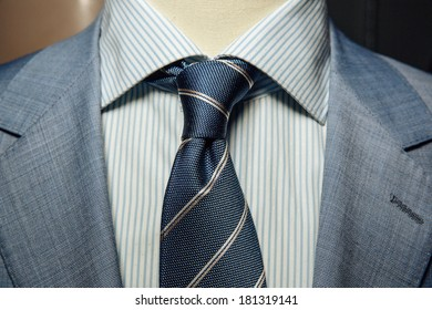Detail of a man's business suit. tie and a shirt