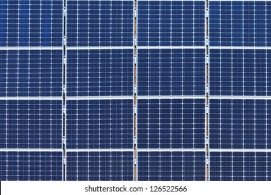 Detail of many solar panels on a roof