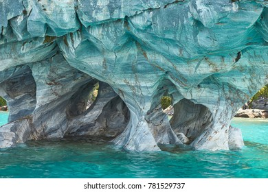 Detail of Marble Caves caused by water erosion on the shore of Lago General Carrera along the Carretera Austral in Northern Patagonia, Chile.