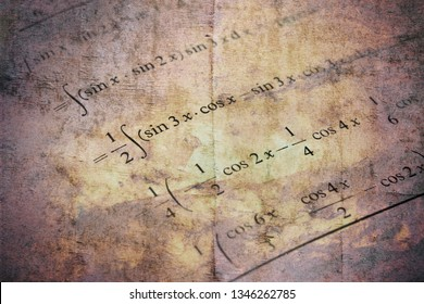 Detail of math textbook and an example of differential and integral calculus