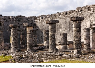 Detail of Mayan ruins with columns at the archeological site in Tulum, Quintana Roo, Mexico.