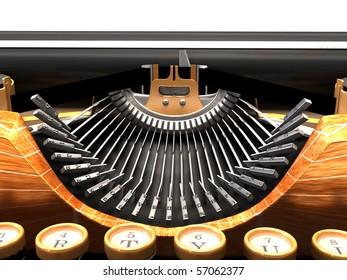 Detail of mechanical typewriter. steam punk style.