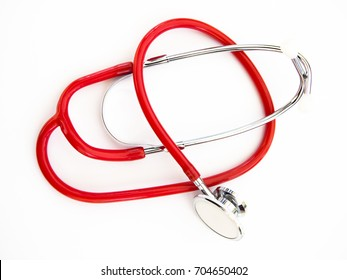 Detail of medical stethoscope isolated in white