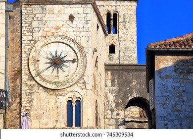 Detail of a medieval clock tower in Split, Croatia