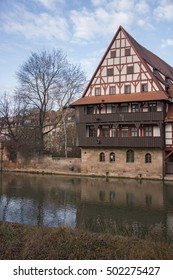 Detail of a medieval house on the river Pegnitz in Nuremberg, Germany
