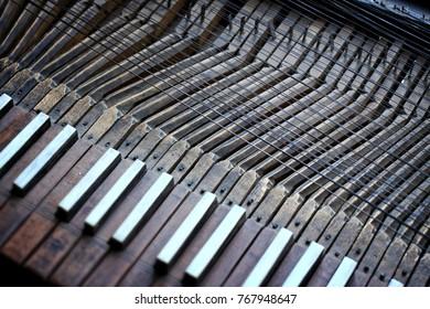 Detail of medieval musical instrument, spinet