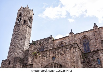 Detail of a medieval stone building in the Gothic Quarter of Barcelona, Spain