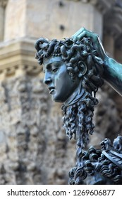 Detail of the Medusa and Perseus Statue in Palazzo Vecchio in Florence, Italy