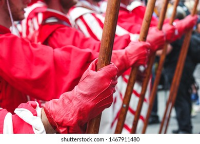 Detail of men hand holding spear. Traditional parade on Swiss National Day. National holiday of Switzerland, set on 1st August. Celebration of the founding of the Swiss Confederacy. Independence day