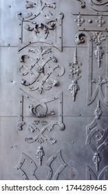 Detail, Metal gate of Benedictine cloister in Broumov town, Czech Republic