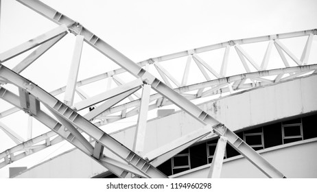 detail of a metal structure construction at old and abandoned grandstand.
