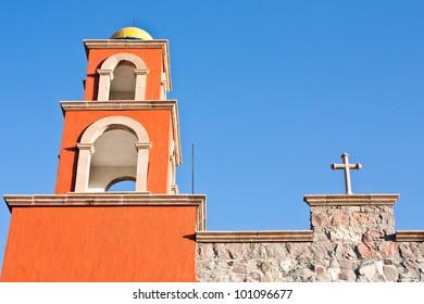Detail of a Mexican church, brilliant colours