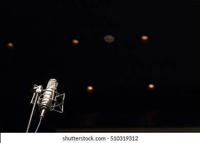 detail, microphone in concert hall or conference room.