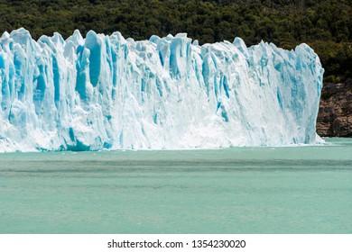 Detail of a mighty turquoise ice of Perito Moreno glacier. Los Glaciares national park, Argentina