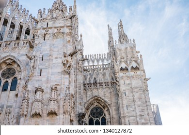 Detail of Milan Cathedral or Duomo di Milano, Gothic church located in the historical center of Milan, Italy.