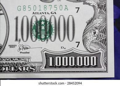 detail of million dollar bill