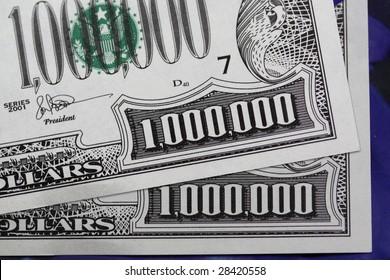 Detail of million dollar bills