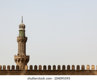 Detail of minaret at Alabaster Mosque or Mosque of Muhammad Ali Pasha in the Citadel in Cairo Egypt