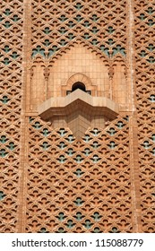 Detail of the minaret of Hassan II mosque in Casablanca, Morocco (the balcony)