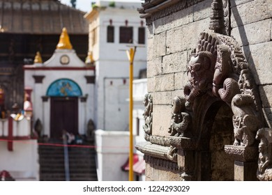 Detail of a minor temple with the main temple in the background, Pashupatinath, Kathmandu, Nepal