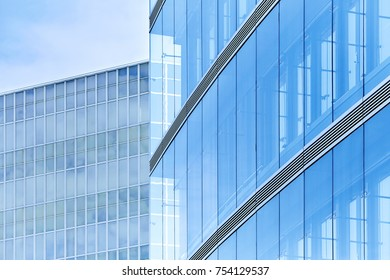 Detail of modern architecture in blue color
