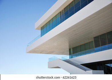 Detail of modern architecture building with copy space on the left