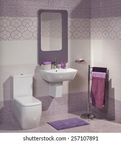 detail of a modern bathroom with sink, toilet and towel