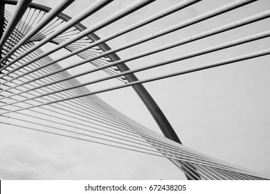 Detail from modern bridge (black and white)