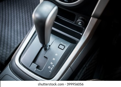 Detail of  modern car interior ; close up of automatic transmission car