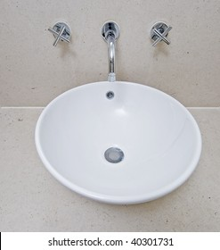 detail of a modern hand wash basin of a bowl shape