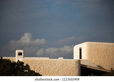 Detail of modern Mediterranean construction on the coast at sunset