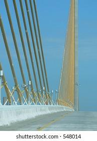 Detail of modern suspension bridge
