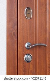 Detail of Modren style metallic door handle on wooden door