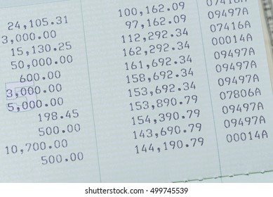 detail of money history in book bank