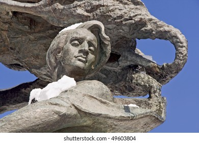 Detail of monument of Frederic Chopin in park Lazienki. Warsaw.