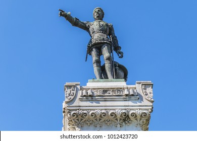 Detail of the monument to Prince Henry the Navigator (1900) in Infante Dom Henrique Square, Porto, Portugal.