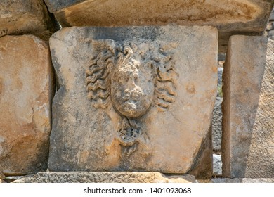 Detail of a monumental tomb on the Eastern Necropolis at the ancient Lycian City of Arykanda. Grave decorated with a Gorgon head. Antalya-Turkey