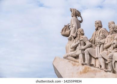 Detail of Monumento aos Descobrimentos e Torre de Belém em Lisboa